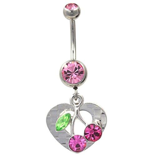 Checkered Cherry Vine Heart Belly Ring Multi Pink Gem Navel Piercing