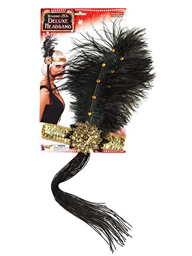 Forum Novelties Roaring 20's Sequin Flapper Headband with Feather, Gold, One Size ()