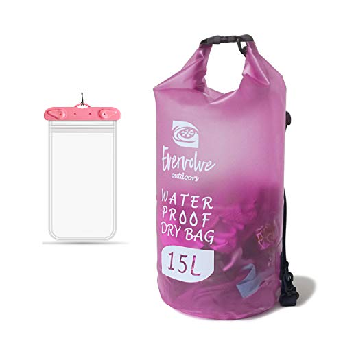 Vgowater Waterproof Dry Bag 15L/20L, Roll Top Sack with Phone Dry Bag for Kayaking, Camping (15L, Pink)