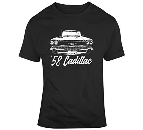 1958 Cadillac Coupe Deville Grill View with Model Year Dark Color T Shirt XSY Black