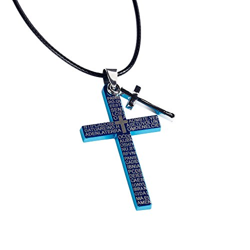 bodya-stainless-steel-titanium-chain-blue-silver-double-cross-pendant-lords-prayer-necklace-for-men-