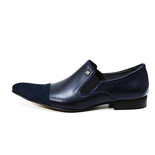 Modello Adria - Cuero Italiano Hecho A Mano Hombre Piel Azul marino Mocasines y Slip-Ons Loafers - Piel de becerro Cuero suave - Ponerse