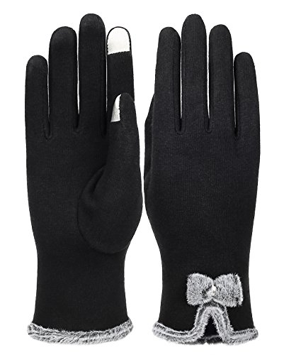 IL Caldo Women's NEW Screentouch Thick Warmer Weather Gloves,Black
