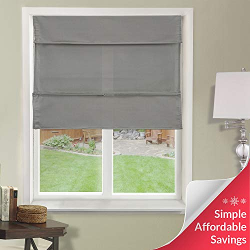 "Chicology Cordless Magnetic Roman Shades / Window Blind Fabric Curtain Drape, Light Filtering, Privacy - Daily Grey, 23""W X 64""H"