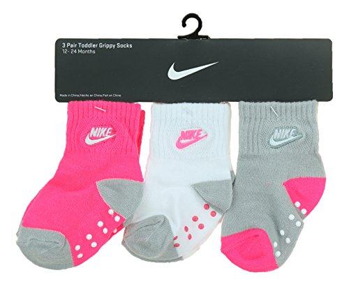 Nike Infant Socks (Nike Futura Girls 3-Pack Gripper Socks (12-24, Hyper Pink))