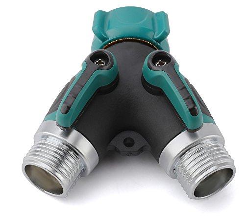 garden hose splitter. Garden Hose Splitter, 2 Way Y Valve Connector - Heavy Duty Durable Splitter