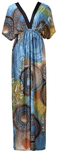QZUnique Women's Batwing Sleeve Ferris Wheel Print Long Beach Dresses 4XL