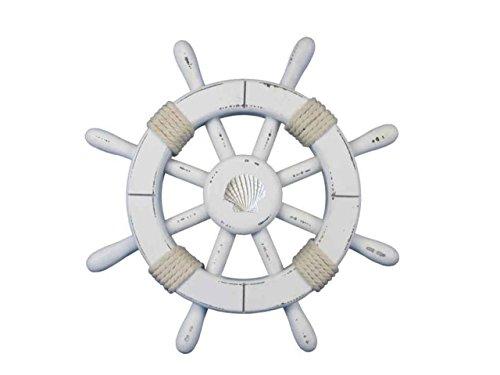Seashell Sculpture - Hampton Nautical  Rustic White Decorative Ship Wheel with Seashell 12