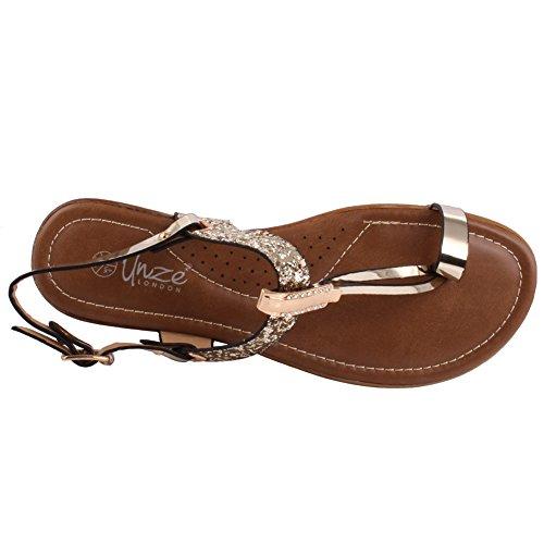 Unze Nuevas mujeres de las señoras Fotios adornó el dedo del pie abierto T-Correa Carnival Flat Summer Sandals Tamaño del zapato 3-8 Gold