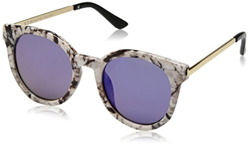 A.J. Morgan Women's Hi There Round Sunglasses, White Marble / Blue Mirror, 50 - Sunglasses Hi