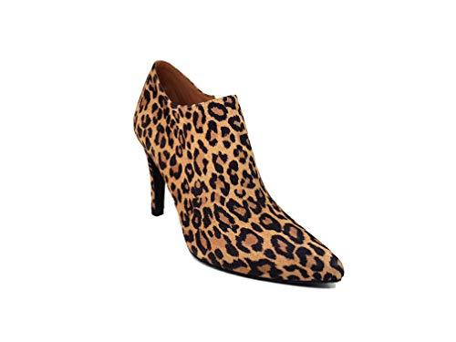 Ante Con Cremallera Aguja Maliso Y Botines Tacon De Mujer Cierre Leopardo Piel 9 Gennia Cm Punta Zapatos Fina Cerrada gZTnwqwX
