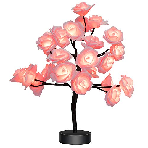 Home Room Decor 24LEDs Flower Rose Tree USB/Battery Operated Gift for Women Teens Girls Table Lamp for Party Wedding Christmas Indoor Outdoor (Table Lamp Flower)