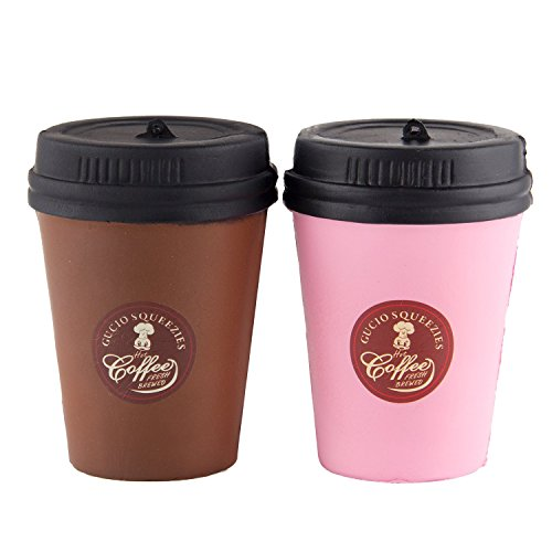 WATINC Kawaii 2pcs Jumbo Squishy coffee cup Squishy Slow Rising Sweet Scented Vent Charms Kid Toy Hand Hand Wrist Toy Gift, Stress Relief Toy Lovely Toy,Doll Gift Fun Large(2p coffee cup)