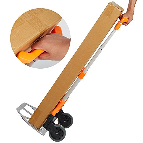 Lucky Tree Folding Hand Truck Aluminium Portable Dolly Cart with Wheels for Office Travel Home Use 170lbs Capacity by Lucky Tree (Image #3)