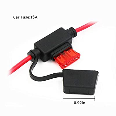 SPARKING 12FT 12V Female Car Cigarette Lighter Socket Extension Cord with Battery Alligator Clips Car Battery Clip-on Extension Cable, 15A Fuse (12FT): Automotive