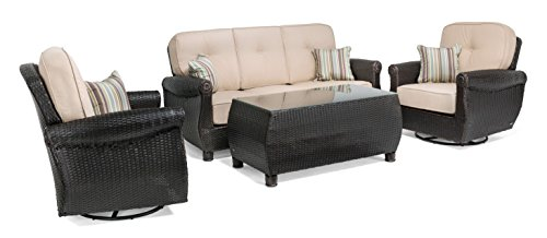 Resin Wicker Natural (La-Z-Boy Outdoor Breckenridge 4 Piece Resin Wicker Patio Furniture Conversation Set (Natural Tan): Two Swivel Rockers, Sofa, and Coffee Table With All Weather Sunbrella Cushions)