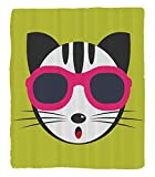 Chaoran 1 Fleece Blanket on Amazon Super Silky Soft All Season Super Plush Animal Cute Kitten Wearing Pinkun Glasses Cool Modern Hipster Cat Fashion Fun Pets Art Print Fabric