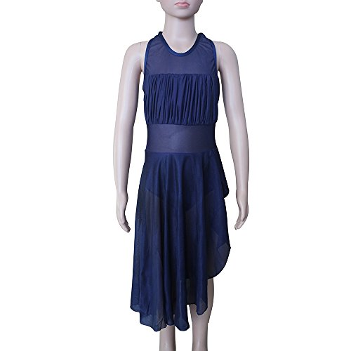 Mesh Hdw Cloth (HDW DANCE Girls Kids Leotard Dress Modern Dance Standard Nylon/Lycra Mesh Halter Lyrical (M-CM, Navy Blue))