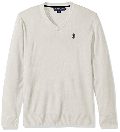 U.S. Polo Assn. Men's Solid V-Neck Sweater, Shell Heather, XX-Large