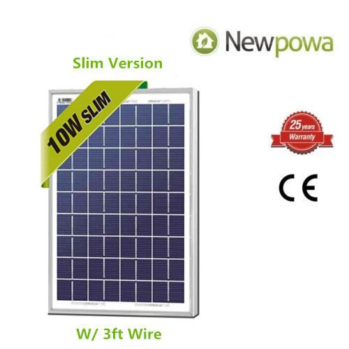 Newpowa 10 Watts 12 Volts Polycrystalline Solar Panel 10W 12V High Efficiency Module RV Marine Boat Off (Solar Module Efficiency)