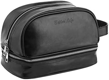 Amazon.com   Leather Toiletry Bag - Travel Dopp Kit For Men   Women ... fca1d2347146c