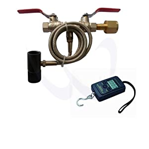 "WaveToGo Dual Valve Paintball CO2 Refill Fill Station 40"" Hose + A01L Digital Scale"