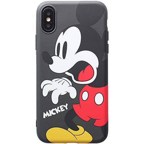 Ultra Slim Soft TPU Grey Mickey Mouse Case iPhone Xs Max 6.5 Shockproof Surprise Emotion Walt Disney Cartoon Cute Chic Lovely Funny Fun Stylish Cool ...