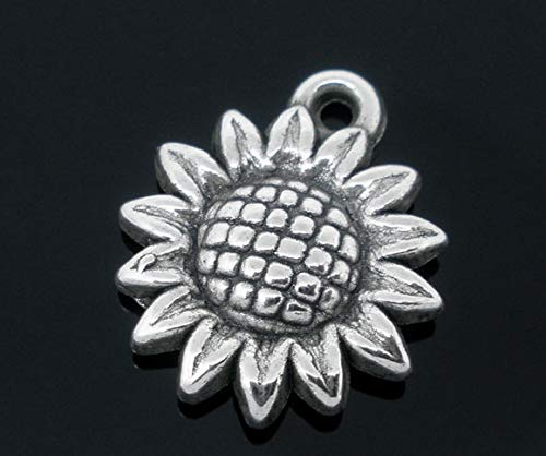 PEPPERLONELY 50pc Antiqued Silver Alloy Sunflower Charms Pendants 19x16mm (6/8