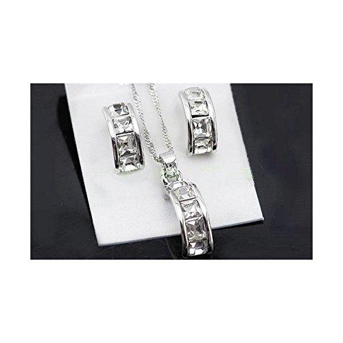 Parure cristaux swarovski elements plaqué or blanc