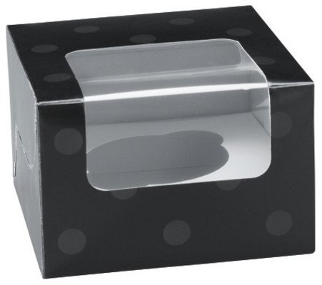 A1 Bakery Supplies Black With Polka Dots Single Serve Cupcake Boxes - 24 Ct