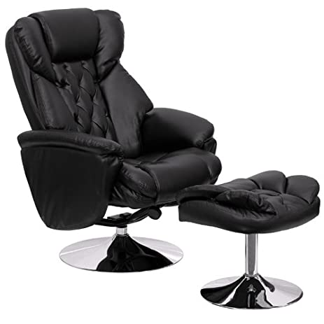 Flash Furniture Transitional Black Leather Recliner and Ottoman with Chrome Base  sc 1 st  Amazon.com & Amazon.com: Flash Furniture Transitional Black Leather Recliner ... islam-shia.org