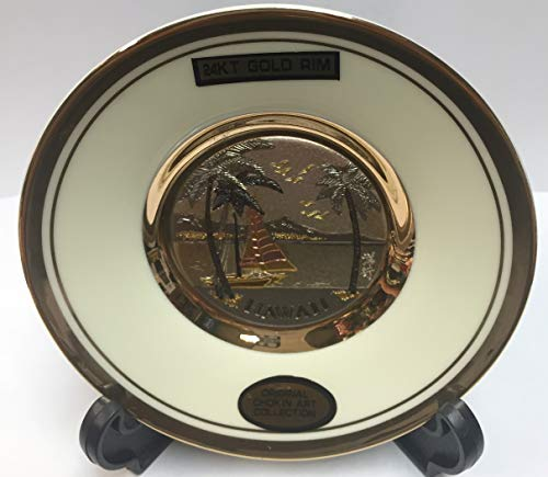 """DYNASTY The Art of CHOKIN Fine Porcelain Collectible Plate 24KT Gold Rims (4.5""""X 4.5"""") Black Color"""