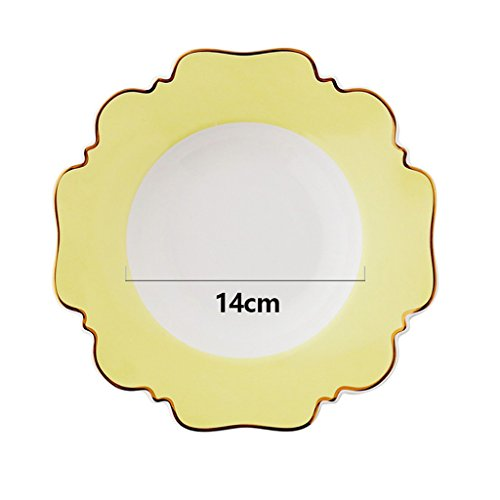 Salad Plates Plate Round Irregular Edged Plate Ceramic Dishware Western Dessert Plate Pasta Plate 9-In Soup Plate Golden Stroke Plates (Color : Yellow, Size : 9inch)