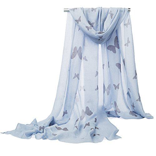 【Colorful Spring Inspired】 Women's Lightweight Fashion Scarf, Floral and Modern Print Sheer Shawl Wrap (blue-butterfly) - Sheer Floral Scarf