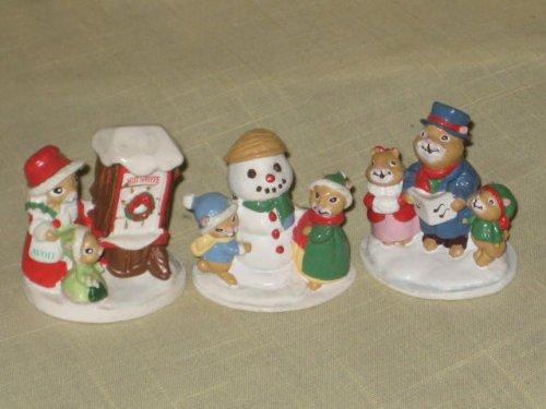 Set Of 3 - Vintage Forest Friends Miniature 2 Inch Mice Figurines - Caroling Trio, Snowfall Friends & Shopping For Treats (Caroling Set Figurine Christmas)