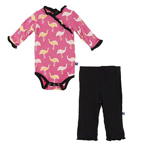 Kickee Pants Long Sleeve Kimono Ruffle One Piece and Ruffle Pants Set Flamingo Emu (6-12 Months) - Long Sleeve Bamboo Kimono