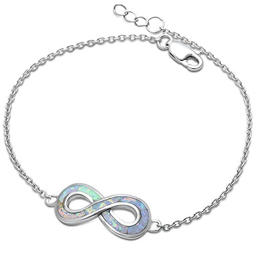 (Lab Created White Opal Infinity .925 Sterling Silver)