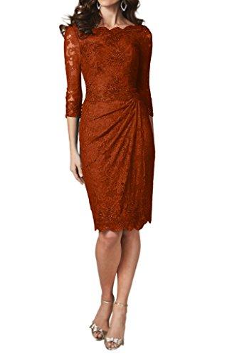 Aermel 3 Dunkelorange Abendkleider Festkleid 4 Damen KnieKurz Linie Promkleid Ivydressing Spitze Etui tw1qF15