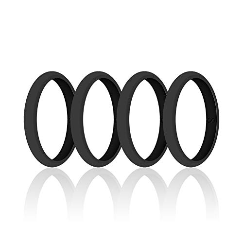 (SANXIULY Womens Wedding Silicone Ring& Thin Rubber Wedding Bands for Workout and Sports Width 3mm Pack of 4 Size 5)