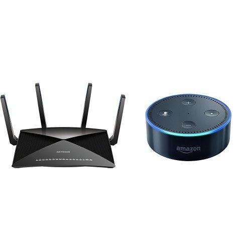 NETGEAR Nighthawk X10 - AD7200 802.11ac/ad  Quad-Stream MU-MIMO WiFi Router with 1.7GHz  Quad-core Processor & Plex Media Server (R9000-100NAS) Bundle with All-New Echo Dot (2nd Generation) - Black