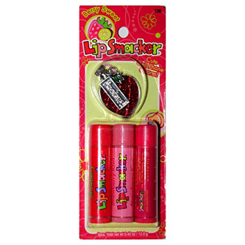 Lip Smacker (1) Pack Berry Sweet 4pc Flavored Lip Balm Trio with Cell Phone Charm Set - Strawberry, Strawberry Kiwi & Berry Peach Flavors-Red & Green Glitter+Silver Strawberry Charm- Bubble -