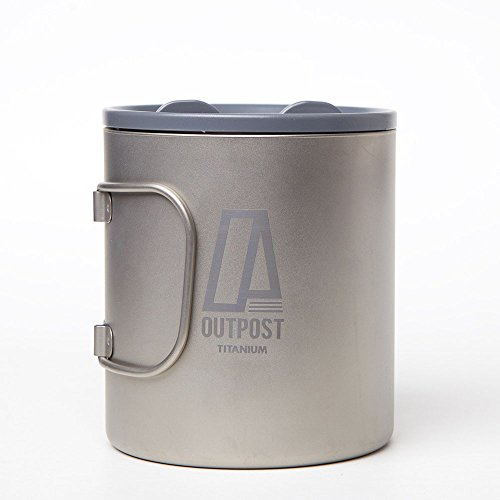 Outpost Titanium 20 oz. Double Wall Titanium Mug with Plastic Lid & Foldable Handle, Great for Hiking and Camping by Outpost Titanium