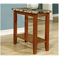 Faux Marble Walnut Side Table