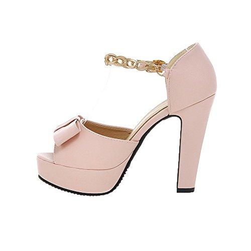 Sandals s Peep CCALP013429 Buckle Women Heels PU VogueZone009 Pink Toe High Solid z5TqAx