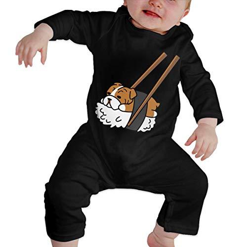 Vy98pu& Unisex Baby Sushi English Bulldog Long Sleeve Bodysuit, Printed Cotton Bodysuit Romper Jumpsuit Black]()