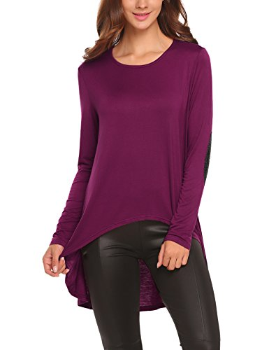 Soteer Women's Geometric Straps V Neck long Sleeve Casual Basic Comfy Top(Purple - Blend Geometric Cotton V-neck