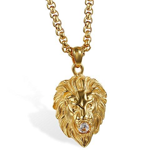 JewelryWe Schmuck Herren Biker Halskette, Edelstahl Zirkonia Gotik Punk Rock Löwe Löwenkopf Anhänger mit 22 Zoll Kette, Silber Gold