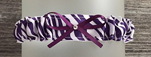 SEXY Dark Plum Purple Zebra Satin Wedding Toss Demi Bridal Garter - Rhinestone