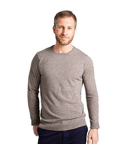 WoolOvers Mens Cashmere and Merino Crew Neck Sweater Mink, (Pink Cashmere Crewneck Sweater)