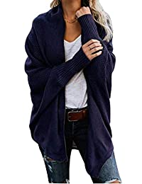 Womens Knitted Draped Batwing Sleeve Open Front Loose Fit Winter Sweater Cardigan